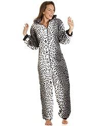 Camille - Pijama de una pieza para mujer - Microfibra - Tallas 36-50 - Estampado leopardo blanco y negro