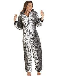 Camille - Combinaison pyjama en polaire - imprimé léopard des neiges - femme - tailles 36 à 50