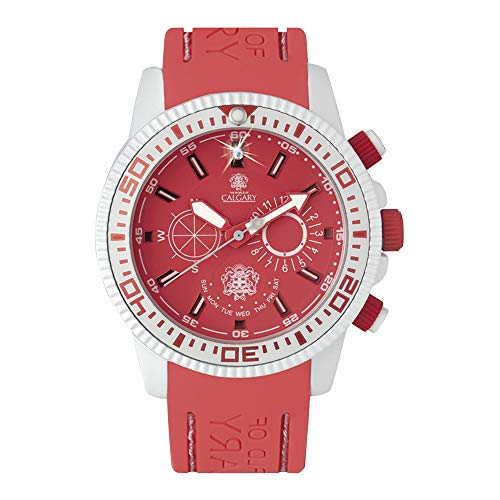 Relojes Calgary Coral Bay, Reloj clásico para Mujer, Correa Coral de Silicona, Esfera Blanca y Coral