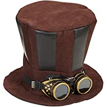 Großer Steampunk Zylinder Schwarz/Braun mit Goggles Brille Hut Damen Herren