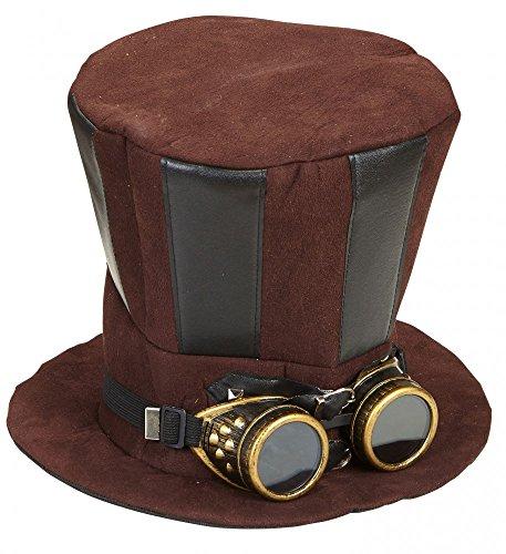 shoperama Großer Steampunk Zylinder Schwarz/Braun mit Goggles Brille Hut Damen Herren