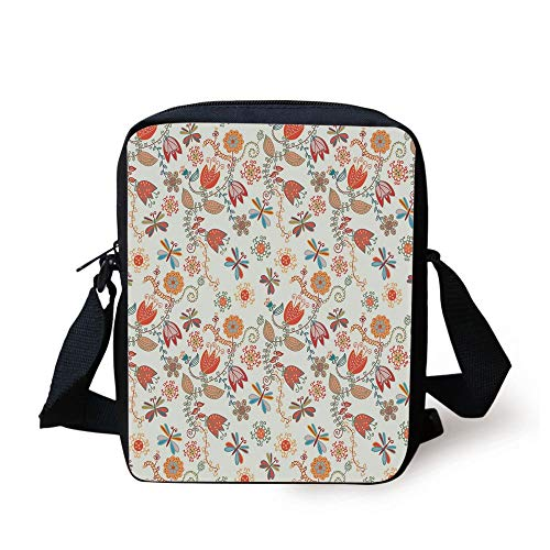 Dragonfly,Cute Tulip Floral Blossom Ornate Pattern with Butterflies Artsy Illustration Decorative,Multicolor Print Kids Crossbody Messenger Bag Purse -
