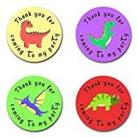 40mm Dinosaur Thank You For Coming To My Party Round Stickers for Party Bags & Sweet Cones