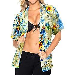Regalo para Las Mujeres Superiores Cuello de la Camisa Hawaiana Amigo Beachwear Luau Hawaiano Desgaste s