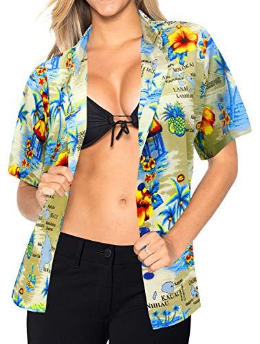 LA LEELA Geschenk für Freund Aloha Hemd Oben Kragen Frauen Wear Luau hawaiische Abnutzung s -