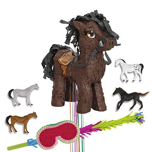PartyMarty Pinata Set-Pinata Pferd Pull + Favour Pack 10 Stück Ponys Pferde + Augenbinde + Schlagstock, Pony, für Kindergeburtstag, ()