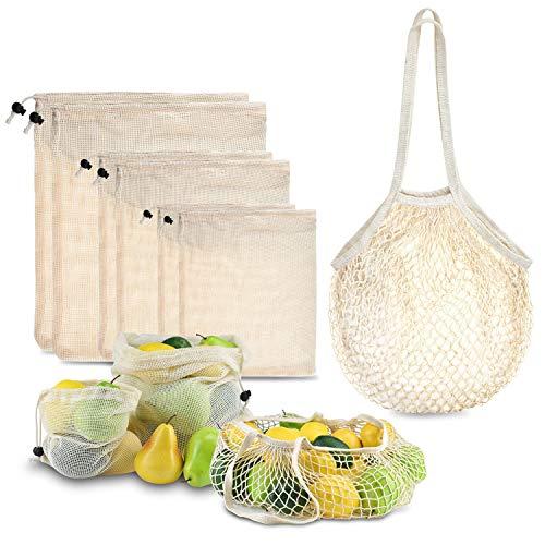 BROTOU Wiederverwendbar Obst-und Gemüsebeutel Obst-Beutel Gemüse-Netz Gemüsebeutel aus Baumwolle,Einkaufsnetze Nachhaltige Einkaufsnetze Obst- & Gemüsenetze,7er Set(2X S, 2X M, 2X L + 1 x Brotbeutel)