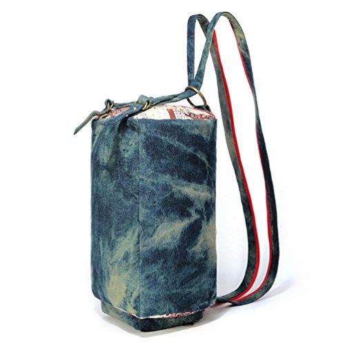 Chang Spent Ms. Leinwand neuen Reißverschluss Schulterdruck Tasche Messenger Bag Tragetasche Umhängetasche Blue
