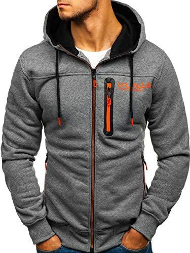 C&c-star (BOLF Herren Kapuzenpullover mit Reißverschluss Sweatshirt Basic Sport Style T&C Star TC865 Grau(Dunkel) L [1A1])