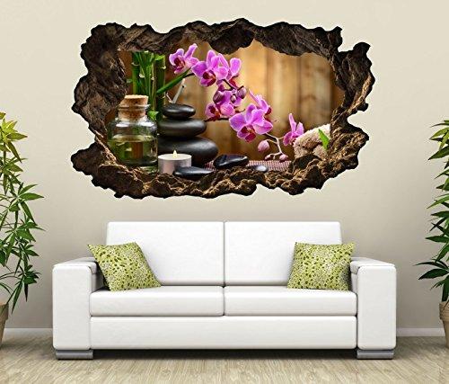 3D Wandtattoo Wellness Steine Orchidee Blumen Öl Massage Bild Spa Wandbild Wandsticker Wohnzimmer Wand Aufkleber 11F209, Wandbild Größe F:ca. 162cmx97cm - Wellness Massage Steinen