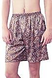 Dolamen Herren Schlafanzughose Hose Shorts kurz, 2 Stück Herren Satin unterwäsche boxershorts Nachtwäsche Trunk Pyjamahose Bottoms elastischem Bund zum Schlafen Freizeit (Large, Braun)