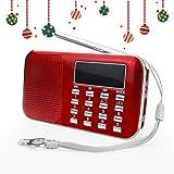Prunus, radio AM FM L-218, di colore rosso, con micro TF card, mp3,USB, Colore Rosso