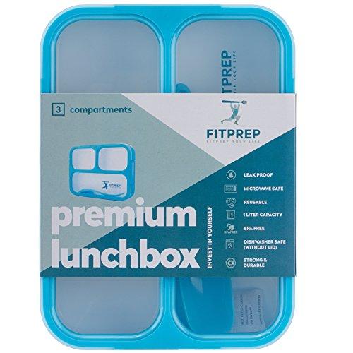 FITPREP Original Lunchbox I Meal Prep I Bento Box I 3 Fächer I Auslaufsicher - Jede Kammer untereinander I Spülmaschinengeeignet (Ohne Deckel) BPA Frei I Brotdose Kinder Frischhaltedose - 6
