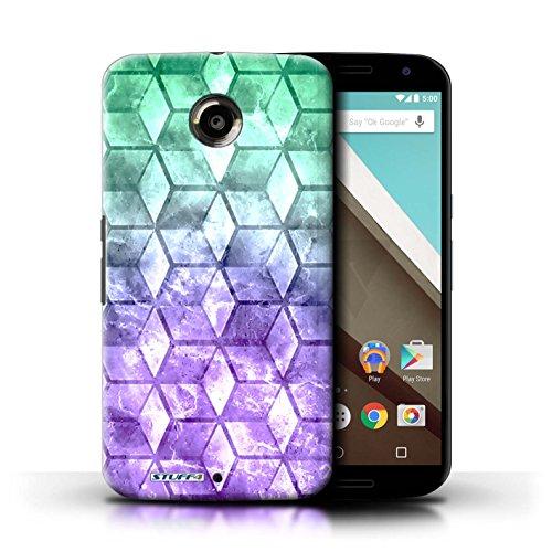 Kobalt® Imprimé Etui / Coque pour Motorola Nexus 6 / Vert/Violet conception / Série Cubes colorés Vert/Violet