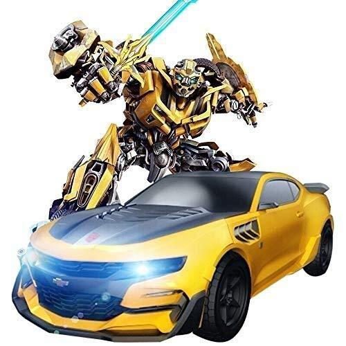 HYBUKDP Macchinina trasformata Auto Bumblebee Transformer Elegante futuristico che corre con 2 canali, 2,4 GHz a distanza dei bambini di controllo di deformazione Cars Toys Transformer Robot Car 2