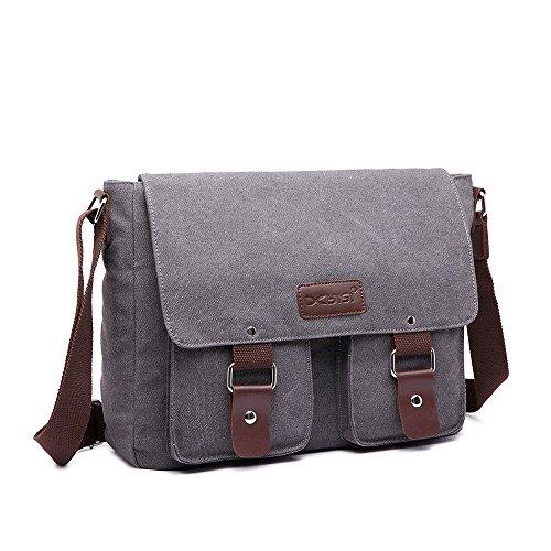 Nameblue Herren Schultertasche Canvas Umhängetasche Retro Kuriertasche 14 Zoll Laptop Tasche Für Arbeit und Schule Schwarz Grau