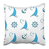 Easshorts Throw Pillow Covers Print 18 x 18 inch Steering Sailboat on The Waves Anchor and Helm Wheel Adventure Anker Boat Boating Brigantine Canvas Square Zipper Polyester Home Sofa Decorative Case