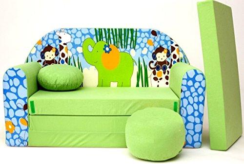 Neo4kids–divano letto per bambini, 3in 1poltrona letto estraibile con motivo, piccolo cuscino e un cuscino incluso. per dormire e giocare.