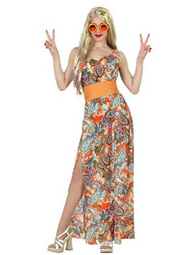 Elegantes 60er Jahre Maxikleid Damenkostüm Hippie Plus Size bunt (Plus Size Kostüme 60er Jahre)