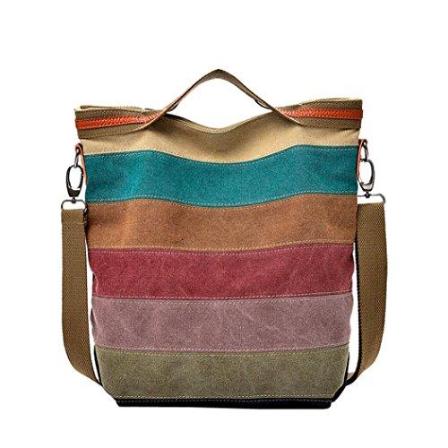 Damen Handtasche FORH Umhängetasche Canvas Shopper Tasche Beiläufige Segeltuch Totes Vintage Bags Streifen Top-Griff Schultertasche (Mehrfarbig)
