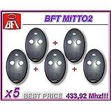 Bft Lot de 5 télécommandes Mitto 2 - 2canaux 433,92MHz