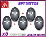 5 x Télécommande BFT MITTO 2, 2 canaux, 433.92 Mhz rolling code