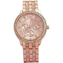 Cosmic Analogue Rhinestone Diamond Studded Rose Gold Dial Women's Watch - FDGFHHG