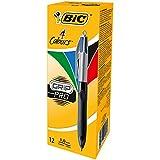 BIC 4 Couleurs Grip Pro Stylos-Bille Rétractables Pointe Moyenne (1,0 mm) - Boîte de 12