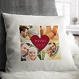 Personello® Fotokissen (40x40) mit 4 Fotos, Wunsch-Namen und Datum im Herz gestalten, Kissen mit Fotos bedrucken, mit Füllung, Geschenk zum Jahrestag, Fotogeschenk -