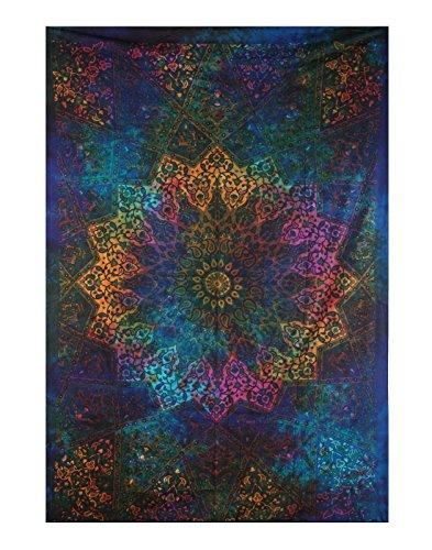 Plush Decor Tapisserie / Wandteppich / Wandbehang, Mandala-Design, Batik-Optik, toll für den Strand oder als Überwurf / Decke / Vorhang, blau (Batik Gobelin Tischdecke)