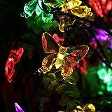 Salcar Guirlande Lumineuse Solaire, 5 mètres de chaîne de lumière LED solaire 20 papillon éclairage de décoration pour les fêtes de Noël (RGB)