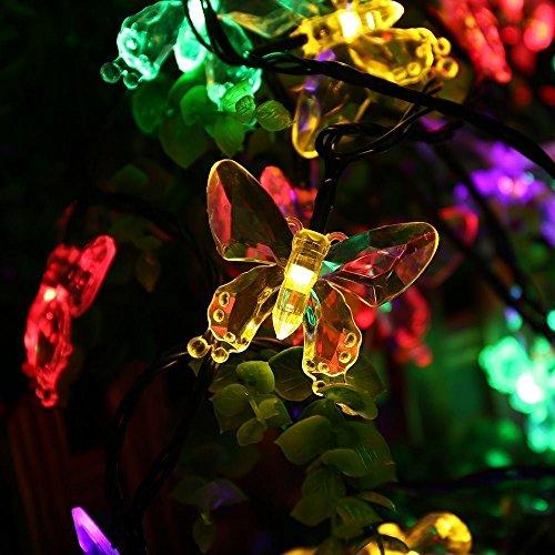 Salcar 5 Meter Solar LED Lichterkette 20 bunten Schmetterlinge Deko Beleuchtung für Weihnachten, Party, Festen, 2 Leuchtmodi (RGB) -