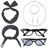 Beelittle 50's Women Costume Accessories Set Bufanda de Gasa Polka Dot Bandana Tie Diadema Retro Cat Eye Eglasses Pearl Accessories Set (Negro)