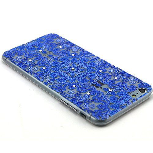 Skitic Weich TPU Relief Glitzer Crystal Case Hülle für Apple iPhone 5 / 5S / SE, Ultra Dünn Cute Handy Cover Fit Gel Rubber Skin Silikon Durchsichtig klar Schutzhülle Case Bling Diamant Sparkle Transp Stil 7