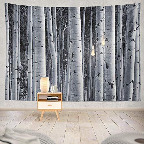 gthytjhv Tapisserie Decor Collection, Forest Tree Birch Forest White Black Colorado Trunk Grove Landscape Bedroom Living Room Dorm Wall Hanging Tapestry Polyester & Polyester Blend -
