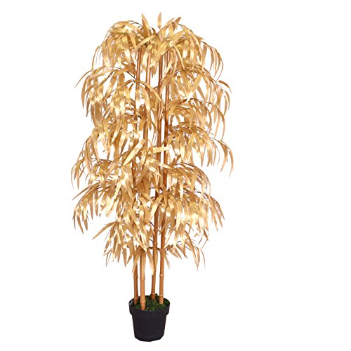 PASAMO 07955 Goldener Bambus, Echtholzstamm, Kunstpflanze 160cm