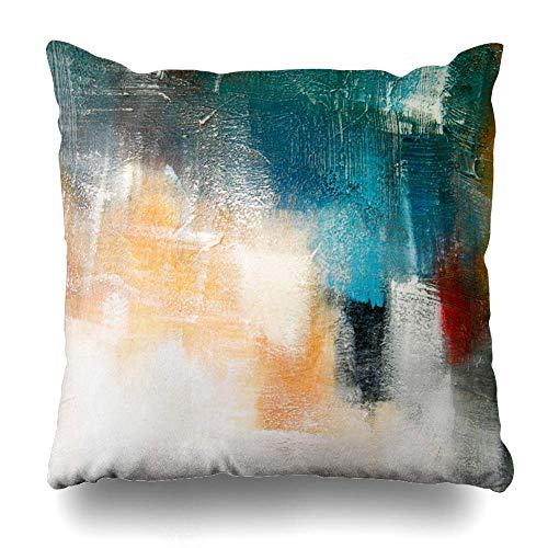 Trsdshorts Throw Pillows Covers Paint Canvas Brush Colors Shadings Abstract Cushion Case Pillowcase Home Sofa Couch Square Size 18 x 18 Inches Pillowslips