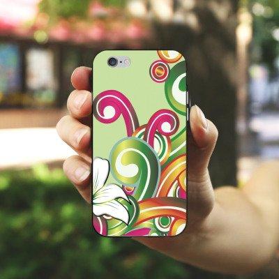 Apple iPhone X Silikon Hülle Case Schutzhülle Blume Blumenmuster Floral Silikon Case schwarz / weiß