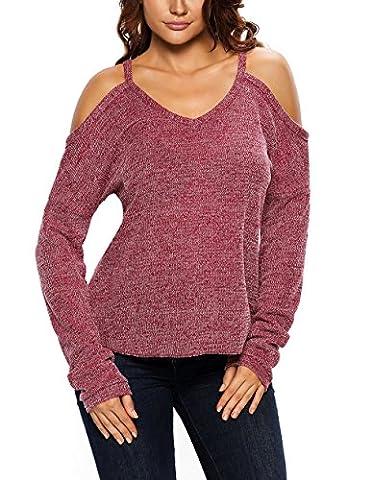 Fempool Pull pour femme Tricot à manches longues avec épaules dénudées - rouge - Small