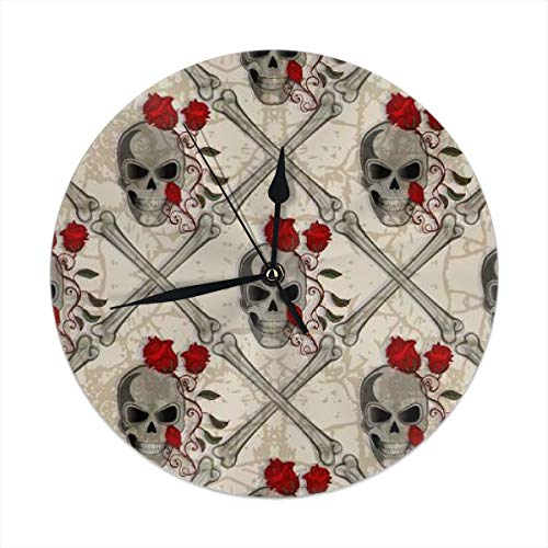 HomeMats 9.8 Inch Round Wall Clock,Skull Jolly Roger Abstract Seamless Silent Non Ticking Decorative Clocks for Kitchen, Living Room, Bedroom, Office (Kit Cat Clock-pink)