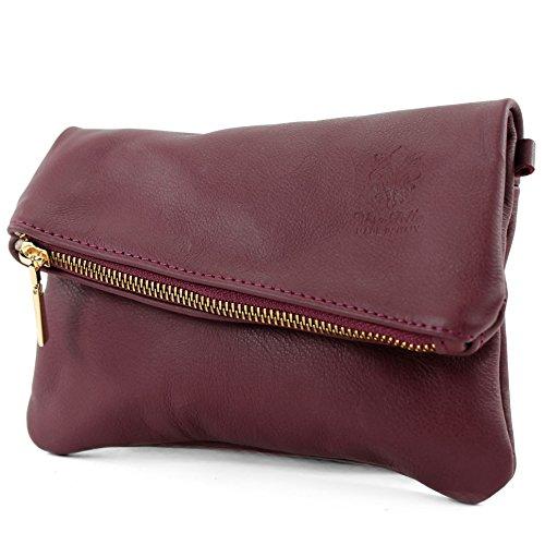 modamoda de -. ital petites dames de sac d'épaule de sac en cuir d'embrayage poignet Sac en cuir T95, Präzise Farbe (nur Farbe):Bordeauxviolett