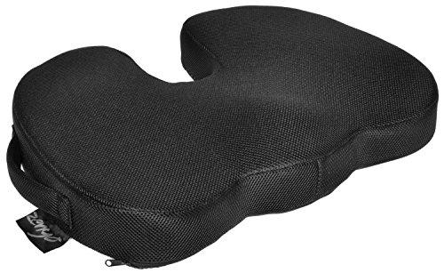 """Zenyo """"ORTHOLIND"""" Orthopädisches Sitzkissen mit Memory-Foam, Steißbein-Kissen mit zwei Bezügen (Mesh / Velour), orthopädische Sitzerhöhung als Ischias-Kissen zur Druck-Entlastung und Schmerzlinderung (Rollstuhl-keil-kissen)"""