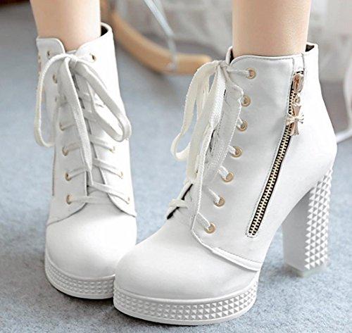 XDGG High - Stöckel Stiefel Frauen New Fashion Temperament Frühling Herbst Winter Weiß, Schwarz 34 35 36 37 38 39 40 41 42 , white , 120W (Tanz-socken Teens)