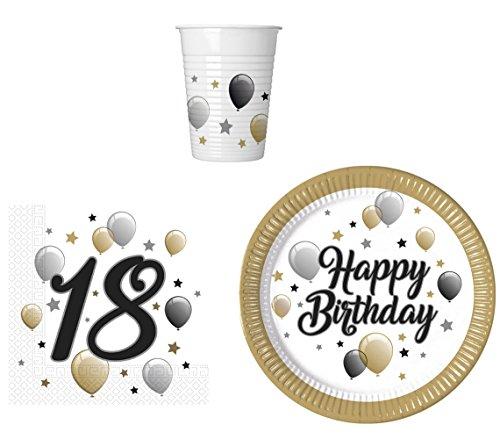 Party-Geschirr Set für 18 Geburtstag - Teller Becher Servietten (16 Personen)