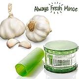 Always Fresh Kitchen Mince Cortador y Pelador de Ajos, Verde, 7 x 17,5 x 14 cm