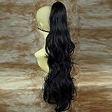 Clip Extension de cheveux Queue de Cheval Longue Noir Barrettes
