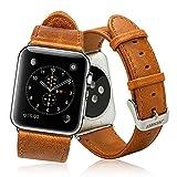 Jisoncase KLASSISCH Apple Watch 38 mm ECHTLEDER Armband mit hochwertigem Edelstahl Adapter Uhrenarmband in braun JS-AW3-05A20