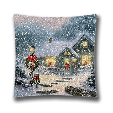 Pop Home Creative Mode Coton Lin carré Couvre-lit décoratif Taie d'oreiller de Noël Stuff pour Thomas Kinkade Arbre de Noël 45,7x 45,7cm