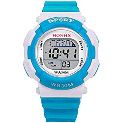 HONHX Kids Student Jelly Silicone Band Waterproof Sports Alarm Date Luminous Digital Wrist Watch -Light Blue