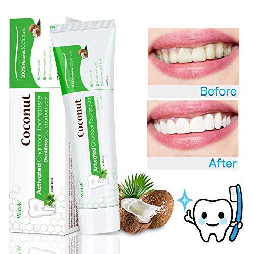 Aktivkohle Zahnpasta,Teeth Whitening,Natürliche Zahnaufhellung,weiße Zähne und Zahnreinigung,Charcoal Toothpaste,Fluoridfreie Zahncreme,Kokosnuss Zahnpasta - Minze Geschmack -